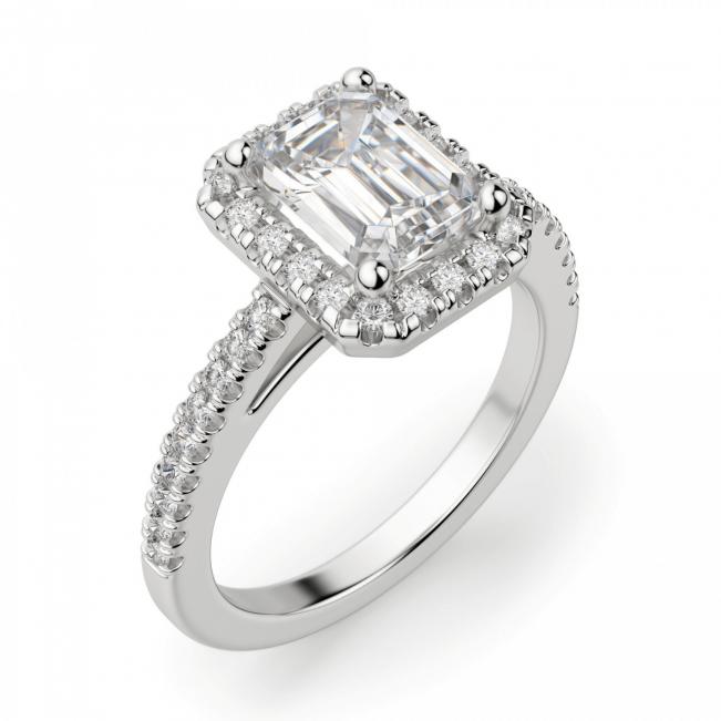 Кольцо бриллиантом эмеральд в ореоле - Фото 2
