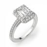Кольцо бриллиантом эмеральд в ореоле, Изображение 3