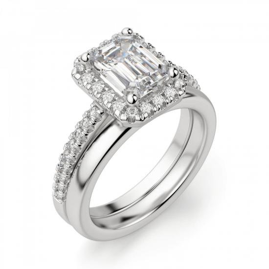 Кольцо бриллиантом эмеральд в ореоле,  Больше Изображение 4