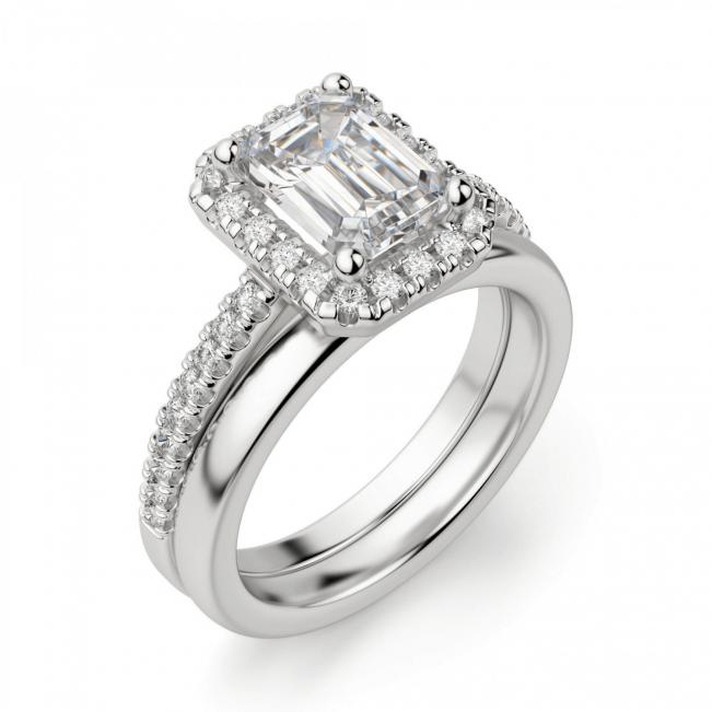 Кольцо бриллиантом эмеральд в ореоле - Фото 3
