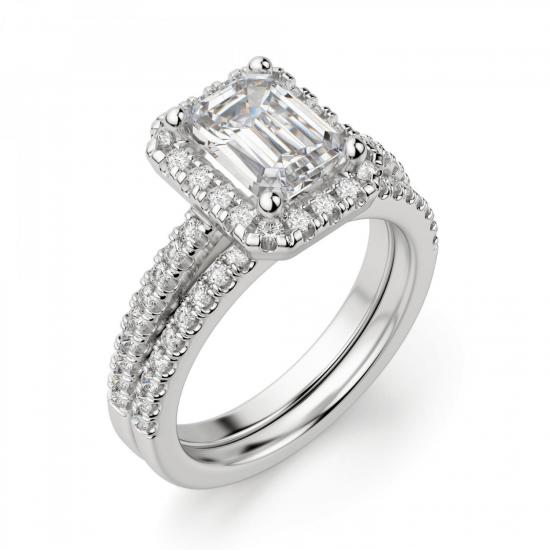 Кольцо бриллиантом эмеральд в ореоле,  Больше Изображение 5