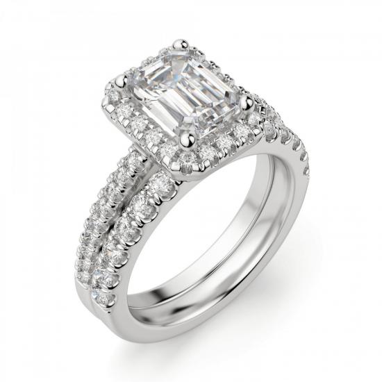 Кольцо бриллиантом эмеральд в ореоле,  Больше Изображение 6
