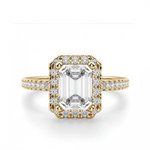 Кольцо золотое бриллиантом эмеральд