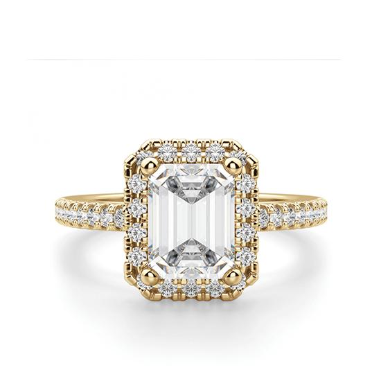 Кольцо золотое бриллиантом эмеральд, Больше Изображение 1
