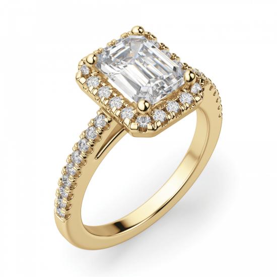 Кольцо золотое бриллиантом эмеральд,  Больше Изображение 3