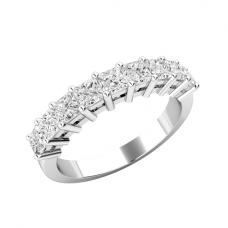 Кольцо полудорожка с 9 квадратными бриллиантами