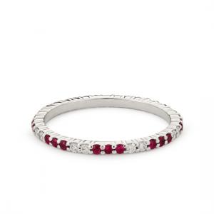 Кольцо дорожка с рубинами и бриллиантами