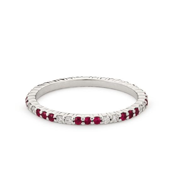 Кольцо дорожка чередование рубинов и бриллиантов, Больше Изображение 1