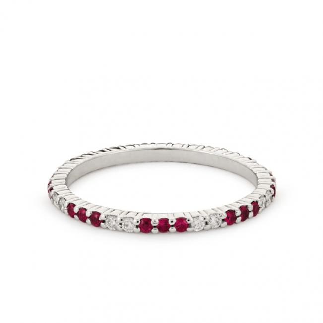 Кольцо дорожка чередование рубинов и бриллиантов