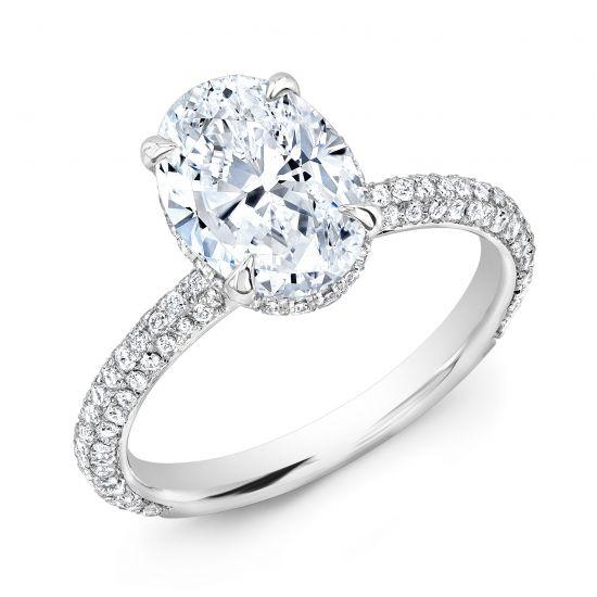 Кольцо с овальным бриллиантом и 3й дорожкой,  Больше Изображение 2