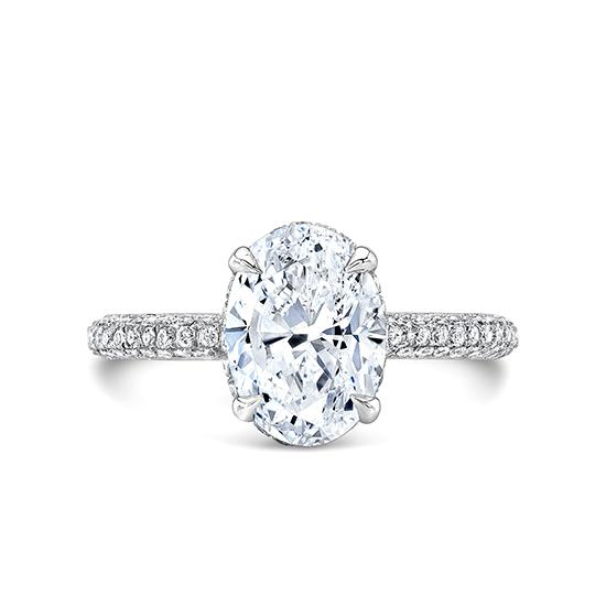 Кольцо с овальным бриллиантом и 3й дорожкой, Больше Изображение 1
