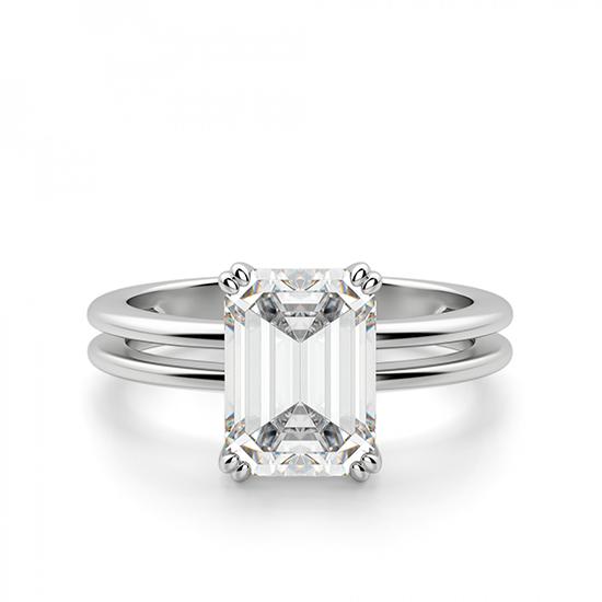 Кольцо с бриллиантом изумрудной огранки, Больше Изображение 1
