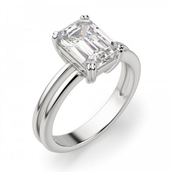 Кольцо с бриллиантом изумрудной огранки,  Больше Изображение 2