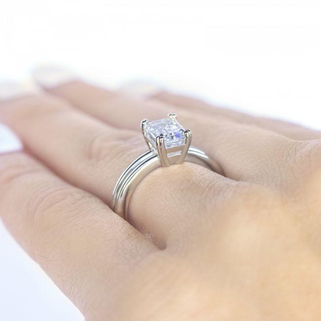 Кольцо двойное с бриллиантом изумрудной огранки - Фото 2