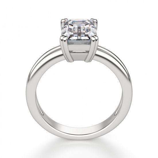 Кольцо с бриллиантом изумрудной огранки,  Больше Изображение 3