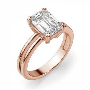 Кольцо двойное с бриллиантом изумрудной огранки