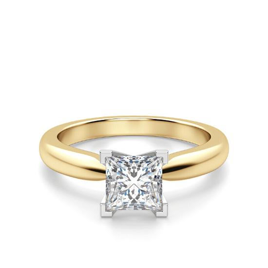 Кольцо из 2 видов золота с бриллиантом Принцесса, Больше Изображение 1