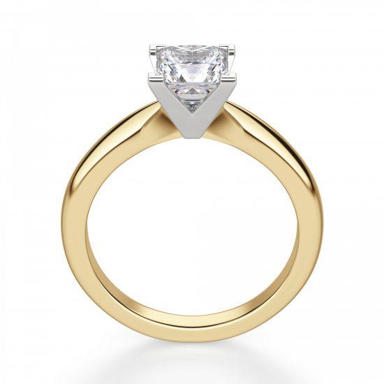 Кольцо из 2 видов золота с бриллиантом Принцесса,  Больше Изображение 4