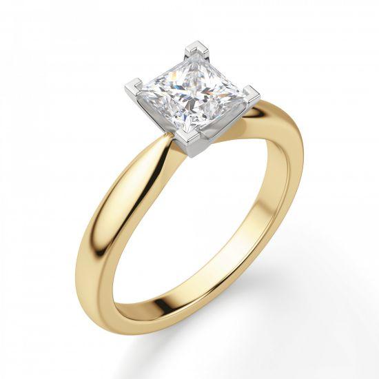 Кольцо из 2 видов золота с бриллиантом Принцесса,  Больше Изображение 3