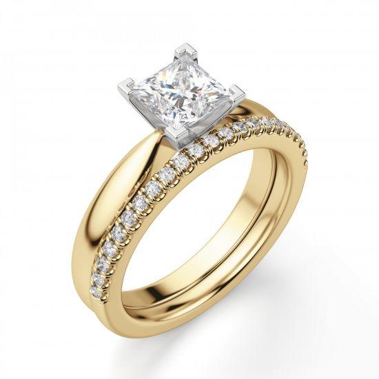 Кольцо из 2 видов золота с бриллиантом Принцесса,  Больше Изображение 2