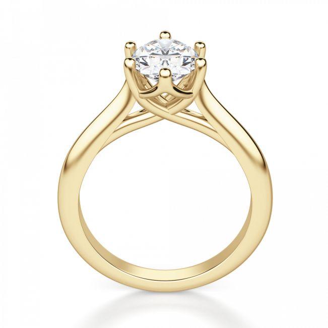 Кольцо солитер с овальным бриллиантом - Фото 1