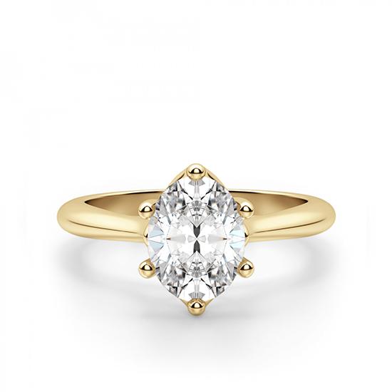 Кольцо солитер с овальным бриллиантом, Больше Изображение 1