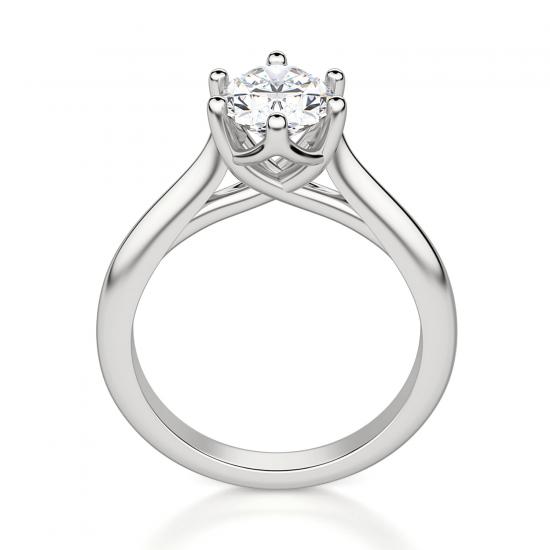 Кольцо солитер с овальным бриллиантом из белого золота,  Больше Изображение 2