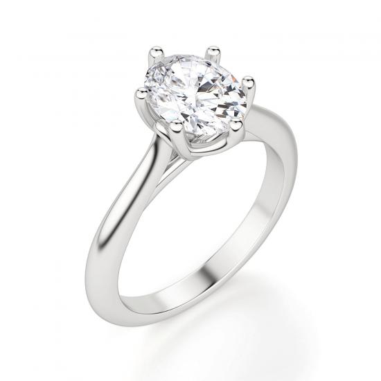 Кольцо солитер с овальным бриллиантом из белого золота,  Больше Изображение 3