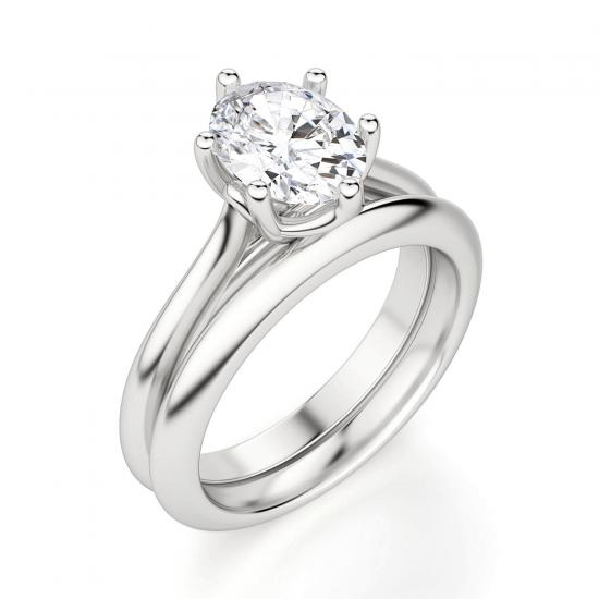 Кольцо солитер с овальным бриллиантом из белого золота,  Больше Изображение 4