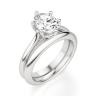 Кольцо солитер с овальным бриллиантом из белого золота, Изображение 4