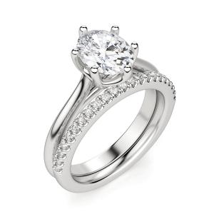 Кольцо солитер с овальным бриллиантом из белого золота