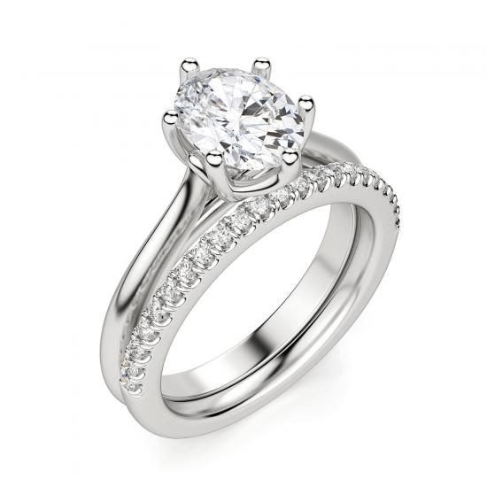 Кольцо солитер с овальным бриллиантом из белого золота,  Больше Изображение 5
