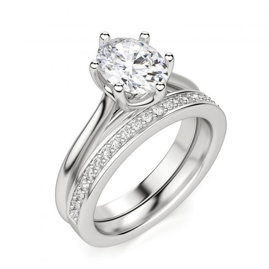 Кольцо солитер с овальным бриллиантом из белого золота,  Больше Изображение 6