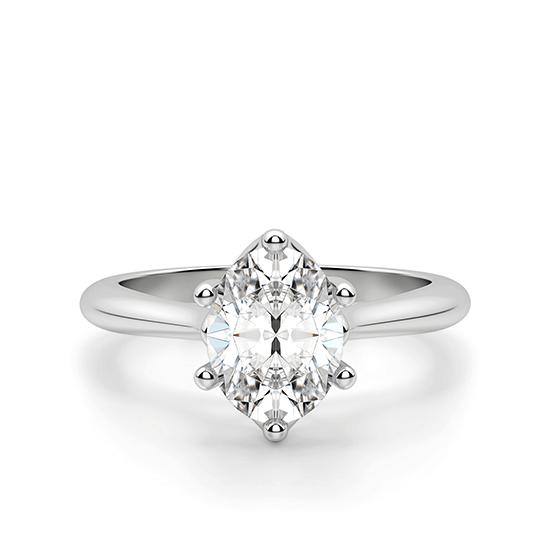 Кольцо солитер с овальным бриллиантом из белого золота, Больше Изображение 1