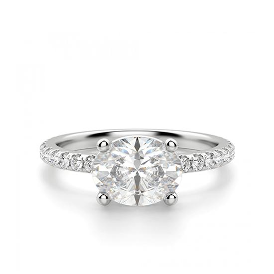 Помолвочное кольцо с бриллиантом овал, Больше Изображение 1