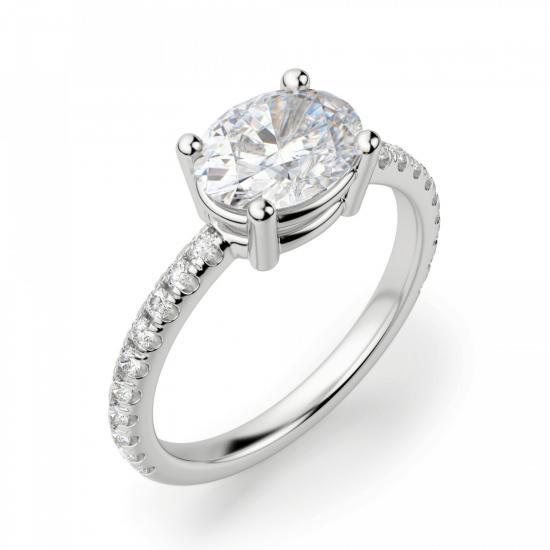 Помолвочное кольцо с бриллиантом овал,  Больше Изображение 3