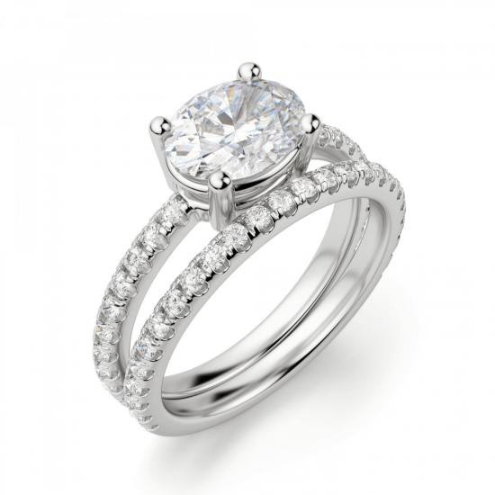 Помолвочное кольцо с бриллиантом овал,  Больше Изображение 4