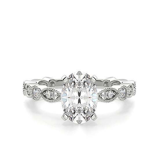 Помолвочное кольцо с бриллиантом овал с боковым декором, Больше Изображение 1