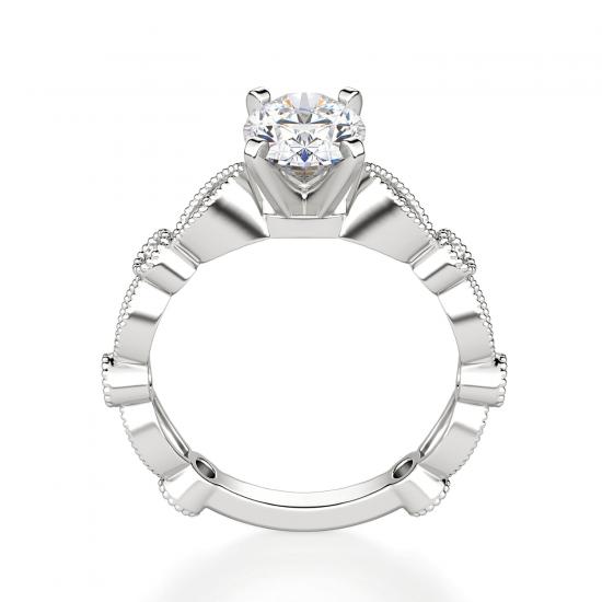 Помолвочное кольцо с бриллиантом овал с боковым декором,  Больше Изображение 2