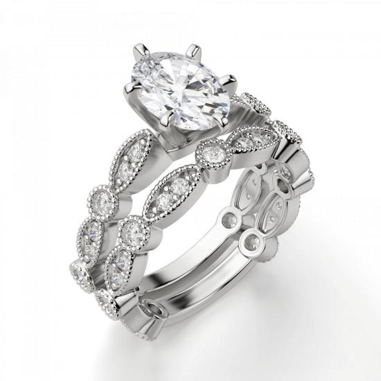 Помолвочное кольцо с бриллиантом овал с боковым декором,  Больше Изображение 4