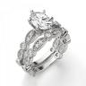 Помолвочное кольцо с бриллиантом овал с боковым декором, Изображение 4
