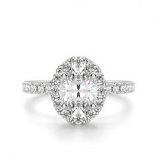 Помолвочное кольцо с бриллиантом овал с паве