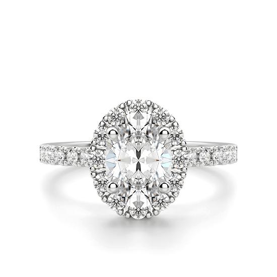 Помолвочное кольцо с бриллиантом овал с паве, Больше Изображение 1