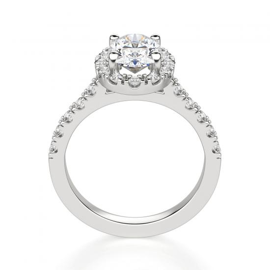 Помолвочное кольцо с бриллиантом овал с паве,  Больше Изображение 2