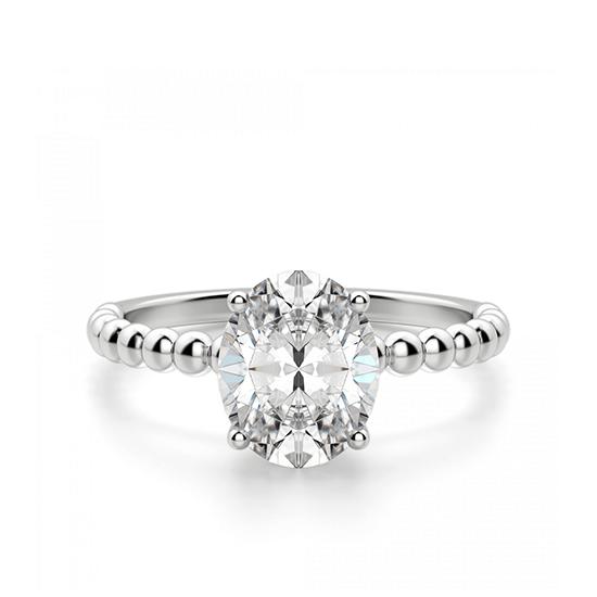Помолвочное кольцо с бриллиантом овал на шинке из шариков, Больше Изображение 1