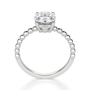 Помолвочное кольцо с бриллиантом овал на шинке из шариков