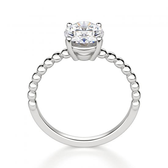 Помолвочное кольцо с бриллиантом овал на шинке из шариков,  Больше Изображение 2