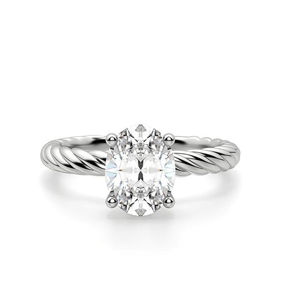 Помолвочное кольцо с бриллиантом овал из белого золота, Больше Изображение 1