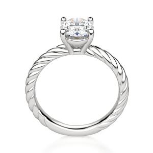 Помолвочное кольцо с бриллиантом овал из белого золота