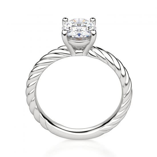 Помолвочное кольцо с бриллиантом овал из белого золота,  Больше Изображение 2